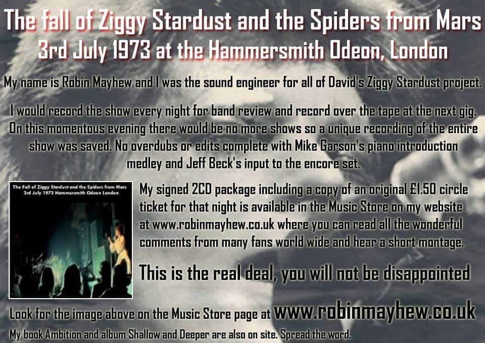 Ziggy Stardusts Soundman With Robin Mayhew
